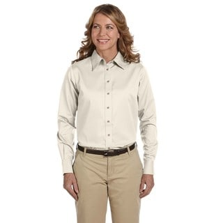 Easy Blend Women's Creme Cotton/Polyester Long-sleeved Twill Dress Shirt With Stain Release