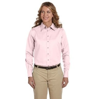 Easy Blend Women's Blush Long-sleeved Twill Dress Shirt with Stain-release