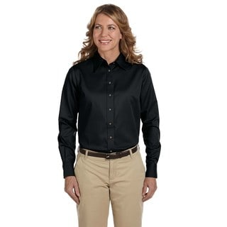 Easy Blend Women's Black Cotton and Polyester Long-sleeved Twill Stain-release Dress Shirt