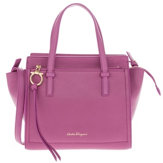 Salvatore Ferragamo Mini 'Amy' Bi-Color Top-Zip Pebbled Leather Tote
