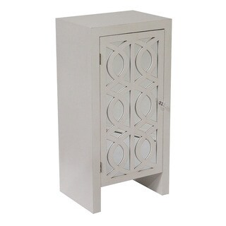 Mirrored White Wood 1-Door Cabinet