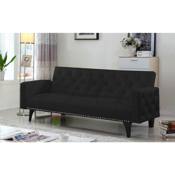 Sensational Modern Tufted Bonded Leather Sleeper Futon Sofa With Nailhead Trim Machost Co Dining Chair Design Ideas Machostcouk