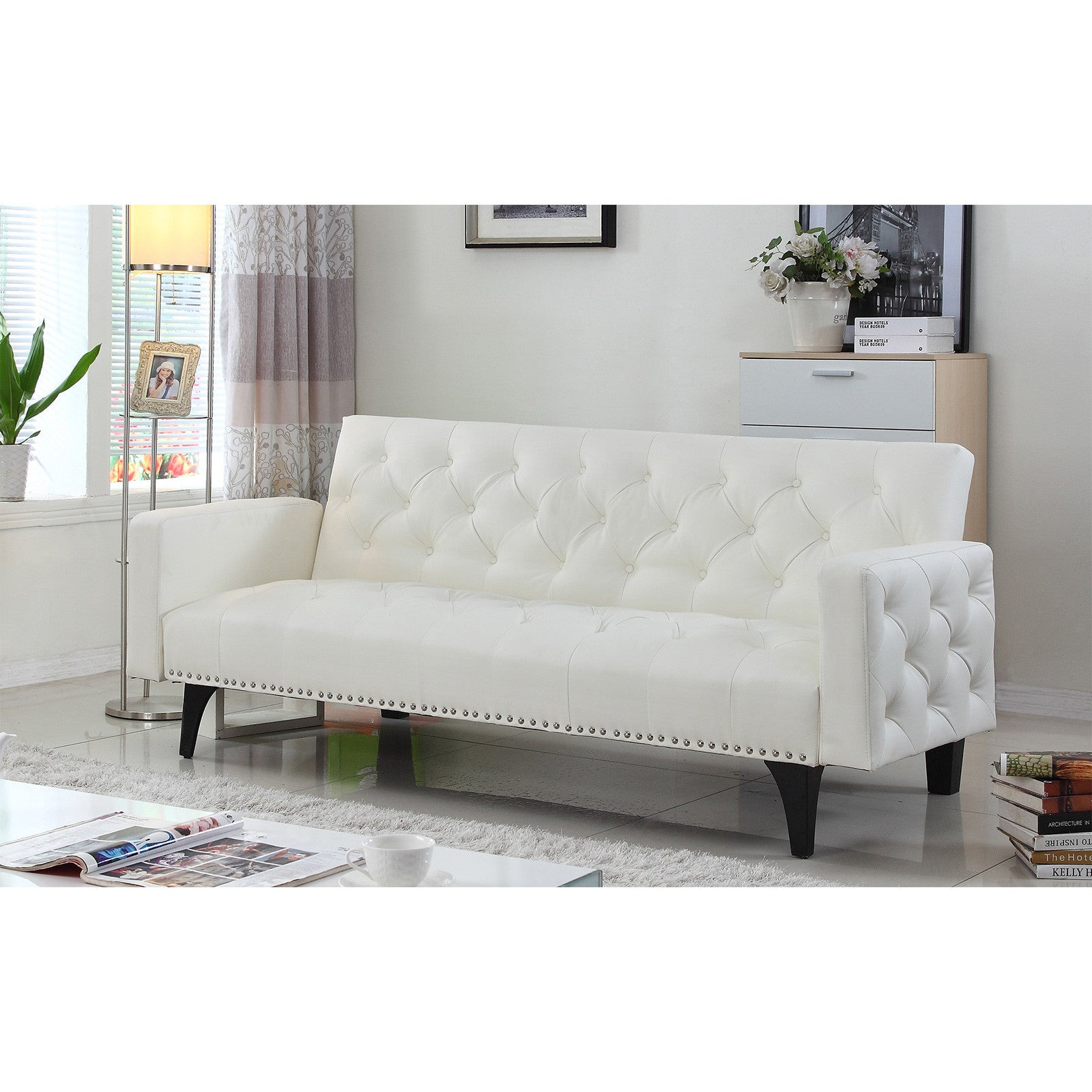 Fantastic Modern Tufted Bonded Leather Sleeper Futon Sofa With Nailhead Trim Forskolin Free Trial Chair Design Images Forskolin Free Trialorg