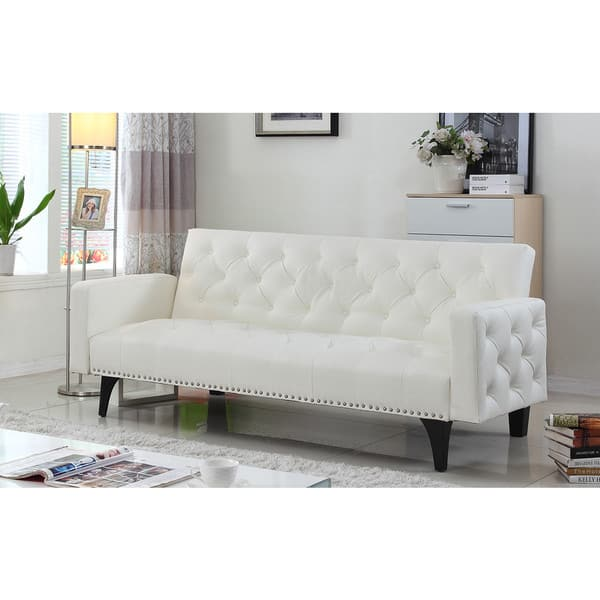 Magnificent Modern Tufted Bonded Leather Sleeper Futon Sofa With Nailhead Trim Pabps2019 Chair Design Images Pabps2019Com