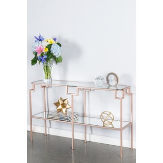 Cynthia Glass Pink Metal Console Table