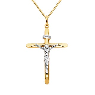 14k Two-tone Solid Gold 1 9/13-inch Crucifix Religious Pendant and 1 mm ox Chain