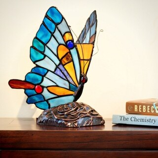 River of Goods Stained Glass 9.5-inch Tiffany Style Flying Butterfly Accent Lamp