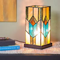 River of Goods Bronze Stained Glass 10.5-inch High Mission-style Uplight Accent Lamp