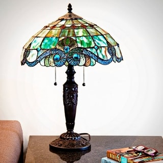 20-inch Vivienne Baroque-style Stained Glass Green Table Lamp