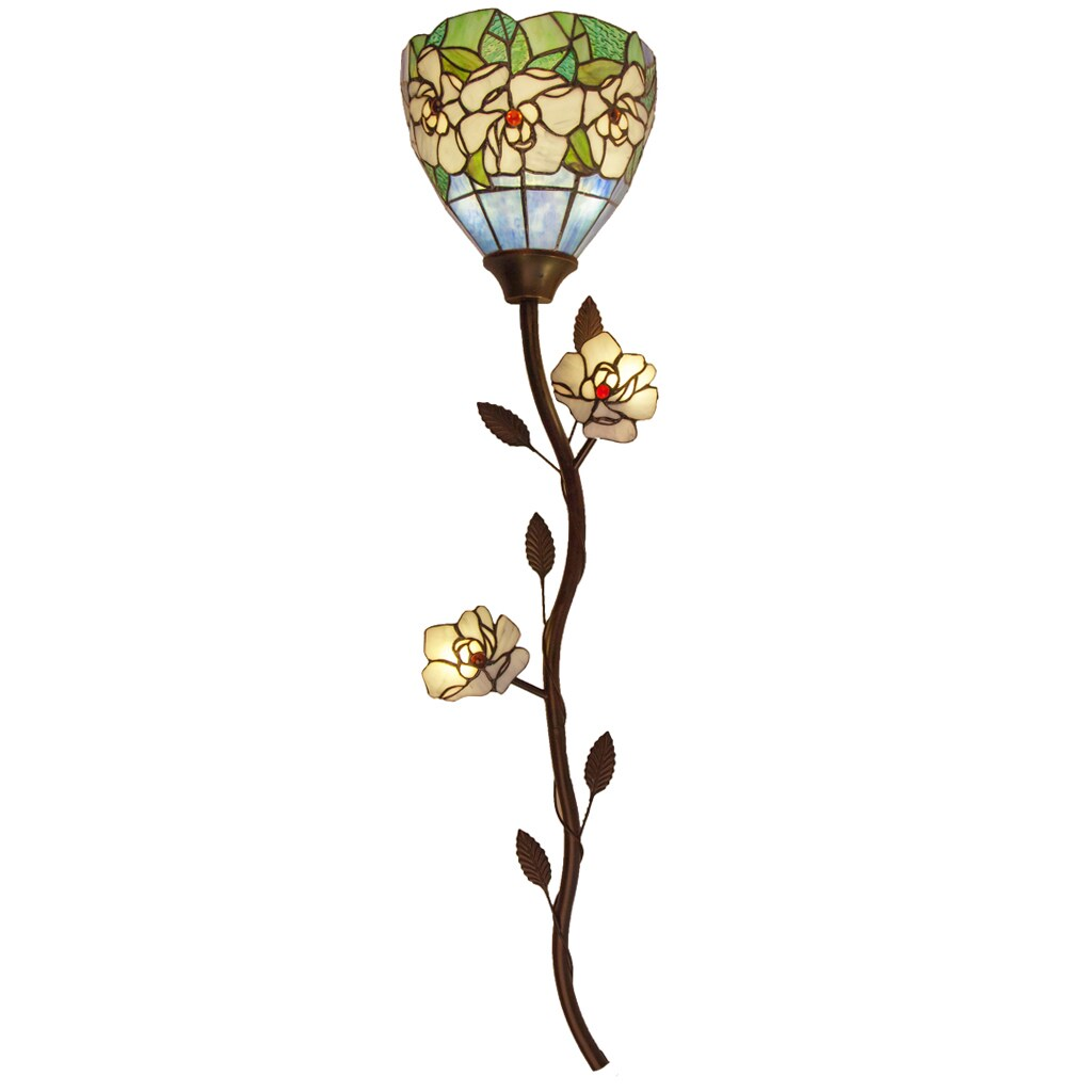 """River Of Goods 43"""" H Magnolia Stained Glass Cordless Wall..."""