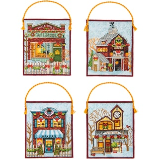Winter Village Ornaments Counted Cross Stitch Kit