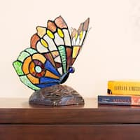 River of Goods Tiffany-style Stained Glass Soaring Butterfly 9-inch High Accent Lamp