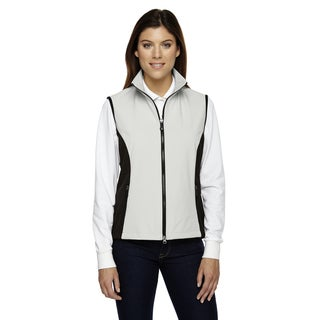 Three-Layer Women's White/Black Polyester-blend Light Bonded Performance Soft Shell Vest (More options available)