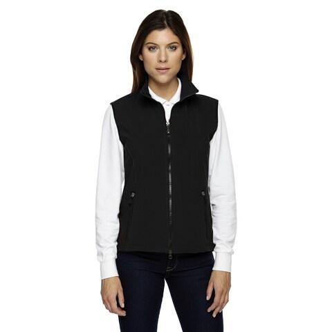 Three-layered Women's Black Polyester-blended Light Bonded Performance Soft Shell Vest