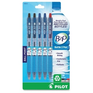 Bottle to Pen (B2P) Recycled Retractable Ballpoint Pens - Assorted (5/Pack)