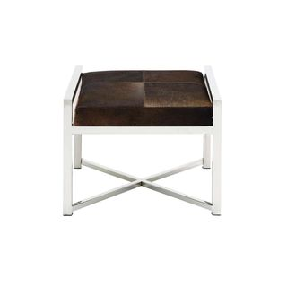 Stainless-steel/Leather Hide 22-inch Wide x 17-inch High Stool