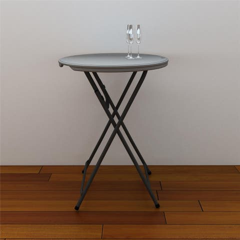 COSCO Commercial Cocktail Heavy Duty Blow Mold Grey Folding Table