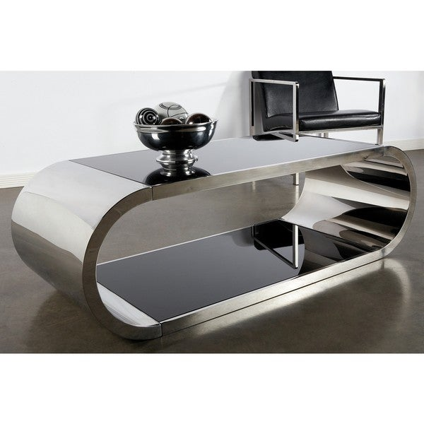 Statements By J Pia Modern Steel and Glass Coffee Table. Opens flyout.