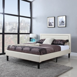 Deluxe Nailhead Trimmed Ivory Bonded Leather Platform Bed