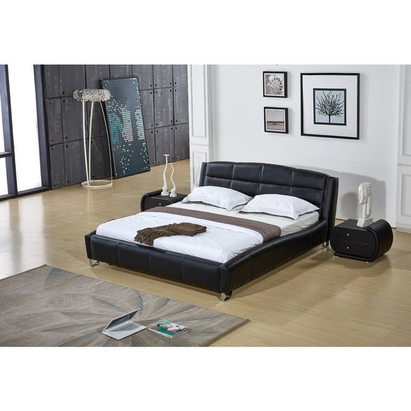 Black Faux Leather Contemporary Platform Bed