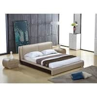 Zoe Grey Faux Leather Contemporary Platform Bed