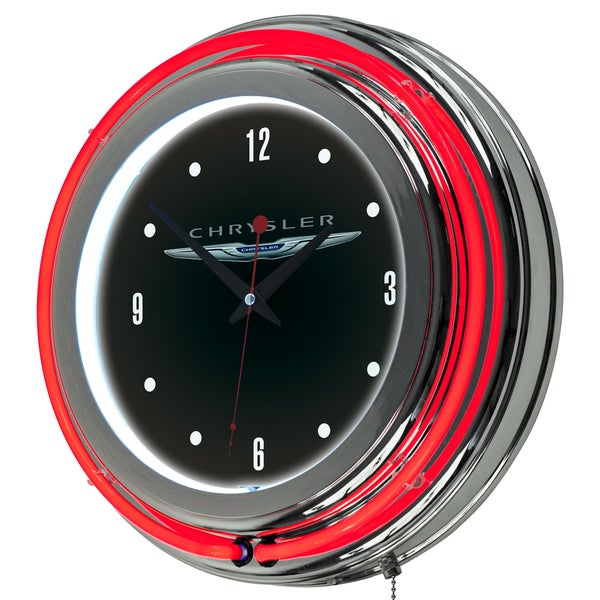 Chrysler Chrome Double Rung Neon Clock