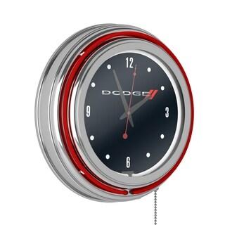 Dodge Chrome Double Rung Neon Clock