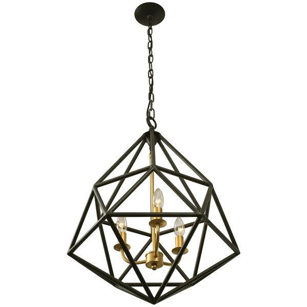 Varaluz Facet 3-Light Gold Leaf Pendant