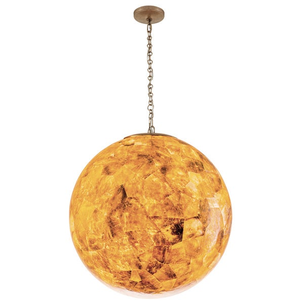 Varaluz Big 3-Light Orb Pendant with Reclaimed Champagne Shell - Gold