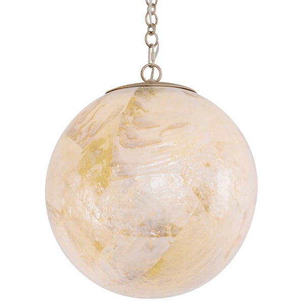Varaluz Big 1-Light Orb Mini Pendant with Reclaimed Kabebe Shell - Gold