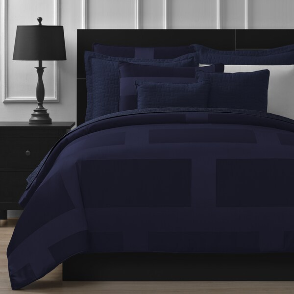 Comfy Bedding Frame Jacquard 5 Piece Comforter Set   Cal King   Navy Blue by Comfy Bedding