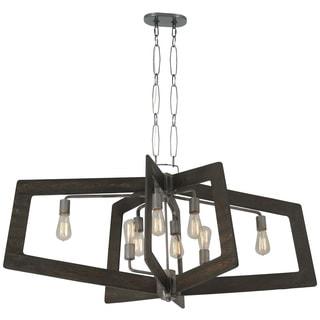 Varaluz Lofty 8-Light Oval Faux Zebrawood Linear Pendant