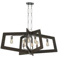 Varaluz Lofty 8-Light Oval Faux Zebrawood Linear Pendant