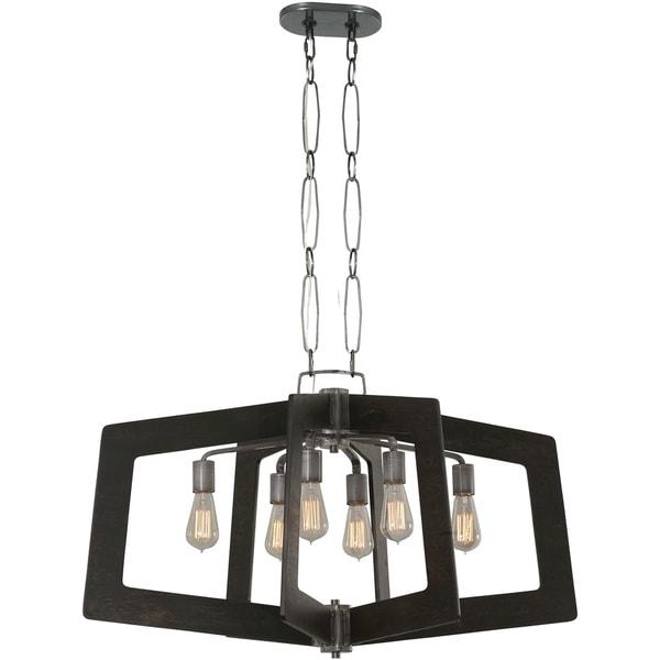Varaluz Lofty 6-Light Oval Faux Zebrawood Linear Pendant