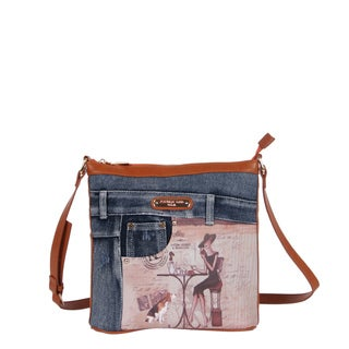 Nicole Lee Wanda Denim Print Buckle Crossbody