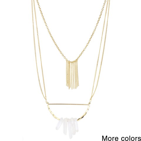 Handmade Saachi Layered Faux Stone Pendant Chain Necklace (China)