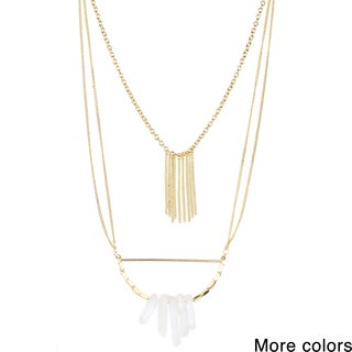 Saachi Layered Faux Stone Pendant Chain Necklace (China)