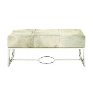White/Tan/Silver Leather Hide/Stainless Steel 22-inch High x 48-inch Wide Bench