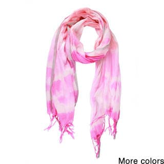 Handmade Saachi Women's Fringed Cotton Blend Tie-Dye Scarf (India)