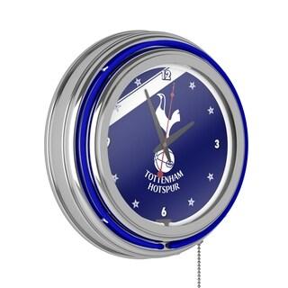 English Premier League Chrome Double Neon Clock - Tottenham Hotspurs
