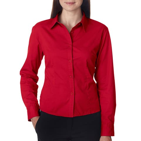 Whisper Women's Twill Red Dress Shirt