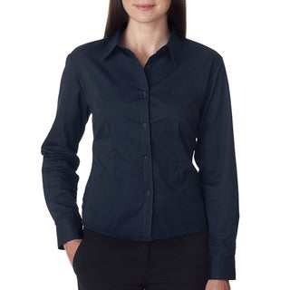 Whisper Women's Twill Navy Dress Shirt