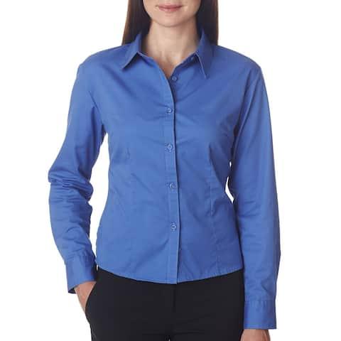 Whisper Women's French Blue Cotton/Polyester Twill Dress Shirt