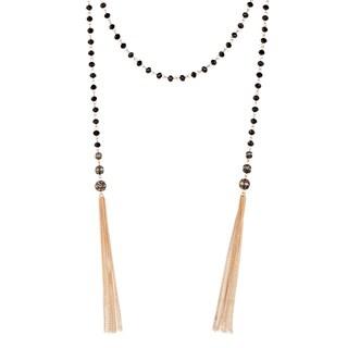 Handmade Saachi Black Lariat Chain Tassel Beaded Necklace (China)