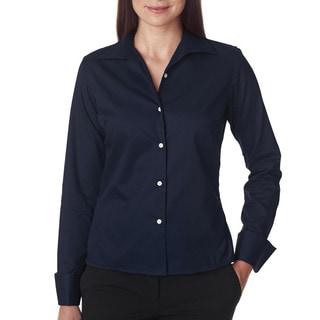 Whisper Women's Elite Navy Cotton/Polyester Twill Dress Shirt