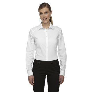 Rejuvenate Women's White Polyester Performance Shirt with Roll-Up Sleeves