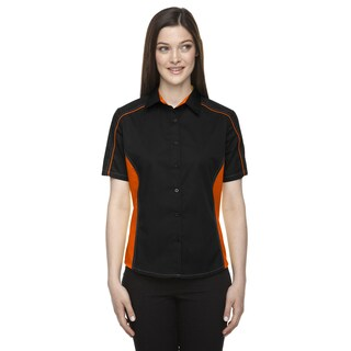 Fuse Women's Black/Orange Colorblock Twill Dress Shirt