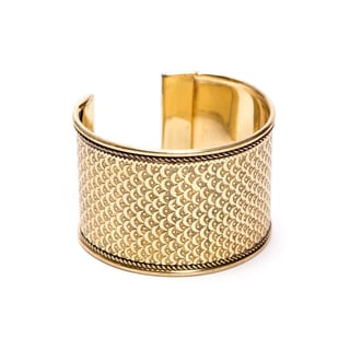 Handmade Art Deco Scallop Cuff- Gatsby Gold (India)