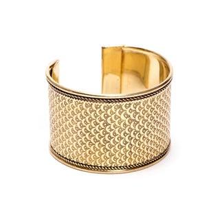 Handmade Art Deco Scallop Cuff- Gatsby Gold (India)