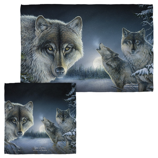 Wild Wings/Midnight Wolves 2 Face/Hand Towel Combo